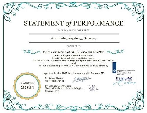 ArminLabs wurde erfolgreich durch die niederländischen Behörden auf die kompetente Durchführung der SARS-CoV-2 RT-PCR überprüft